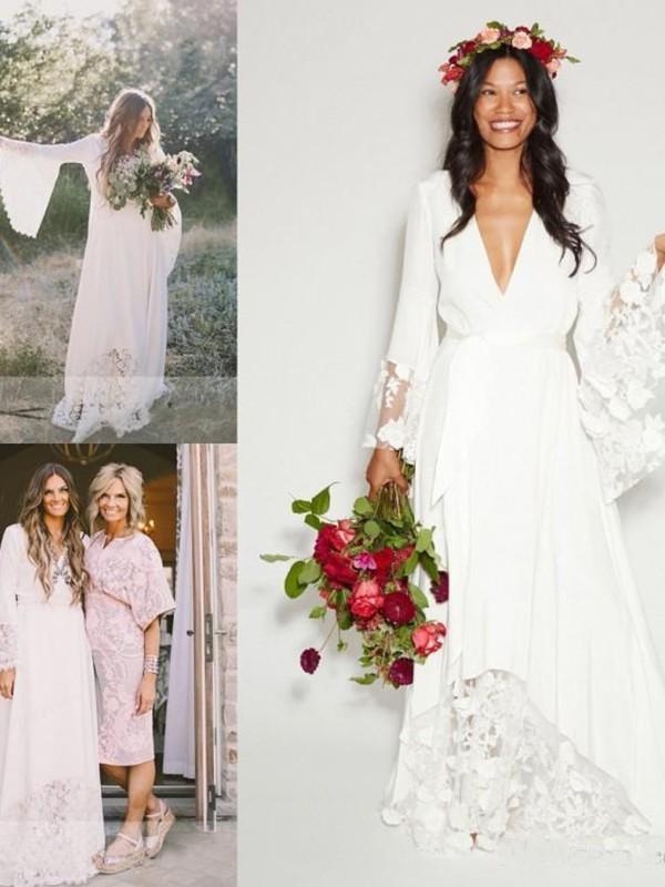 Floor-Length Ivory Long Sleeves V-neck Wedding Dresses