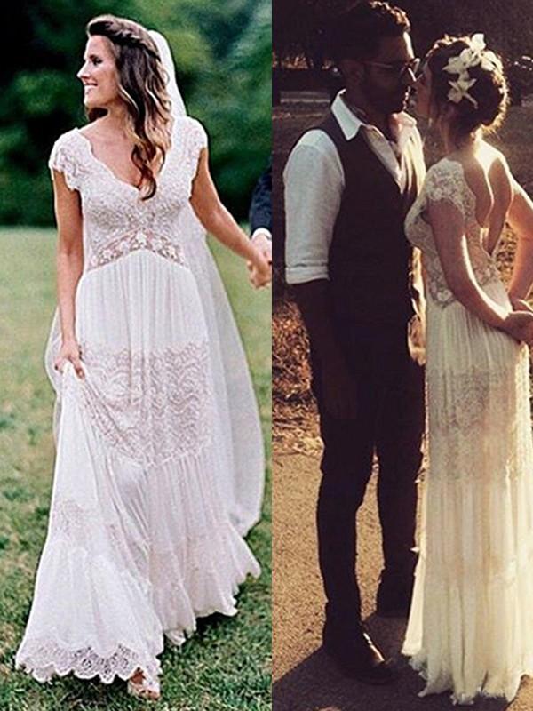 White V-neck Lace Floor-Length Wedding Dresses