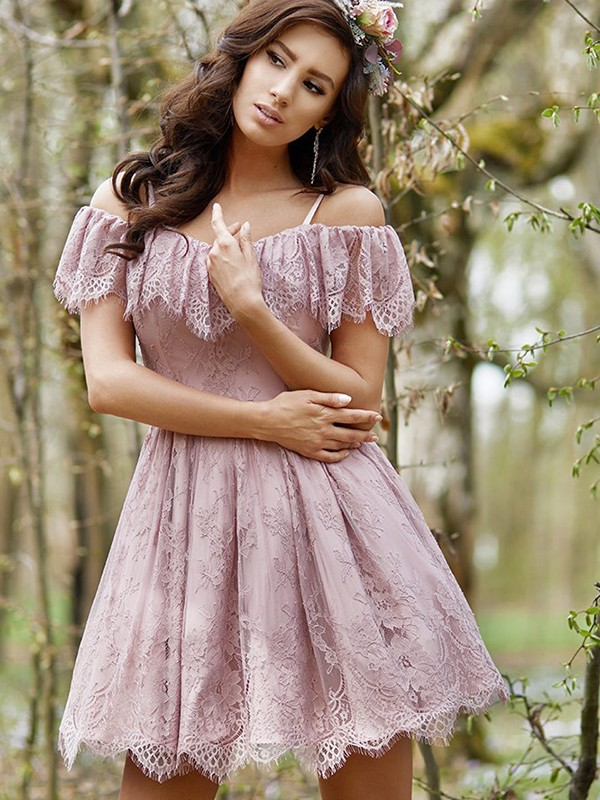 Short Off-the-Shoulder A-Line Lace Lilac Homecoming Dresses