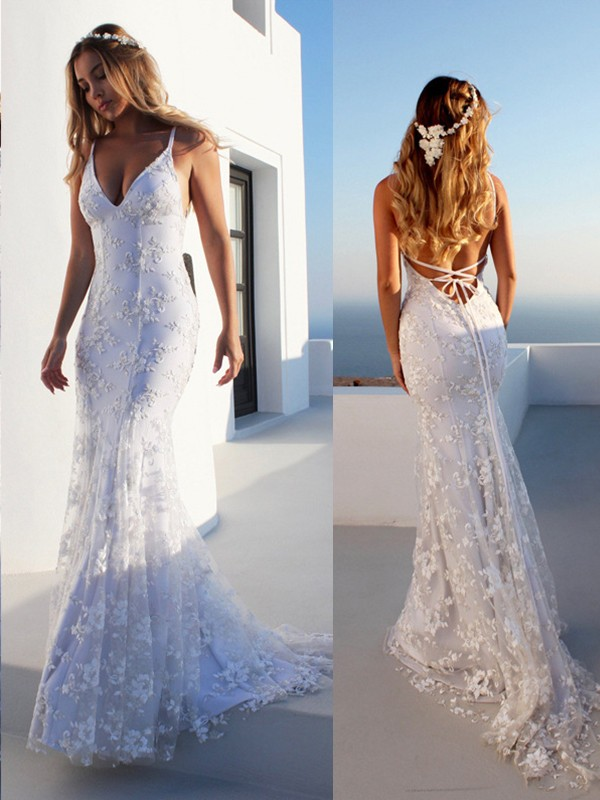 Mermaid Sleeveless White Lace Tulle Wedding Dresses