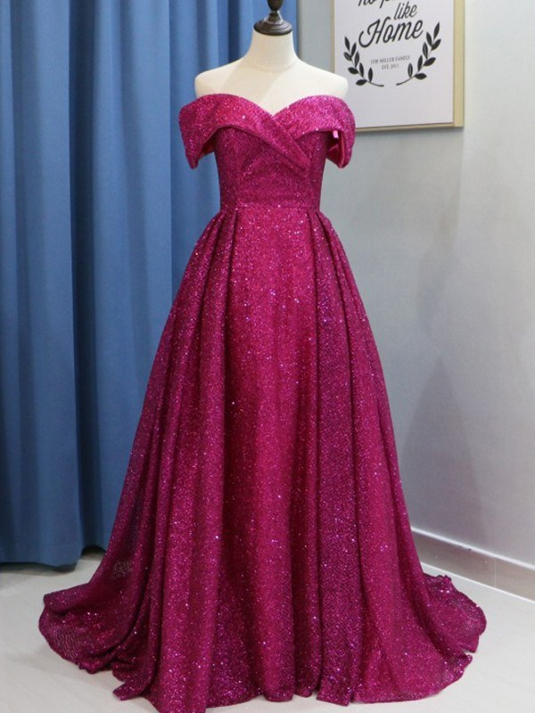 Ball Gown Fuchsia Brush Train Ruffles Sequins Prom Dresses