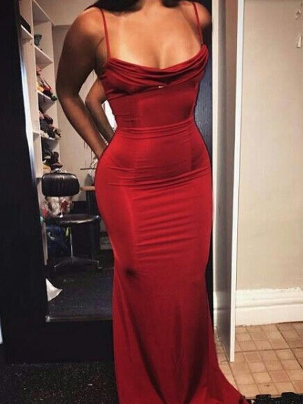 Sheath Spaghetti Straps Floor-Length Red Spandex Prom Dresses