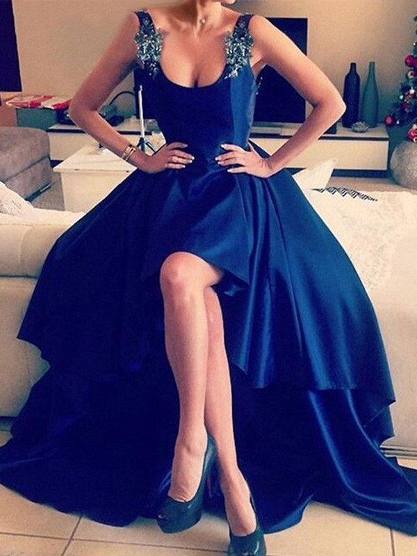 A-Line Square Asymmetrical Royal Blue Satin Prom Dresses