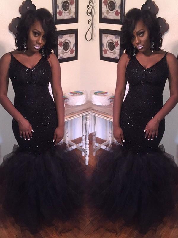 Mermaid V-neck Floor-Length Tulle Black Prom Dresses