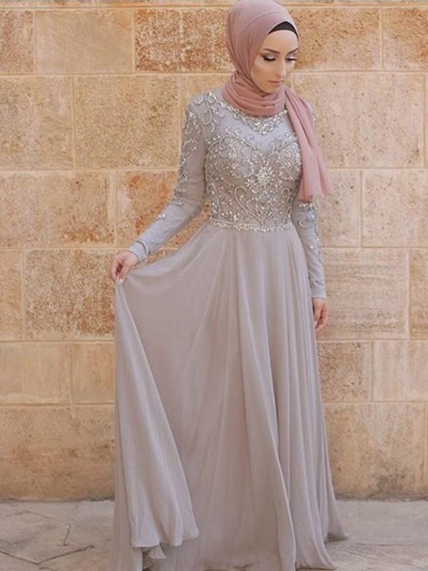 Sheath Long Sleeves Long Crystal Grey Tulle Muslim Prom Dresses
