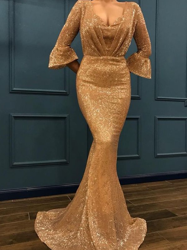 Mermaid 3/4 Sleeves V-neck Brush Train Gold Sequins Prom Dresses