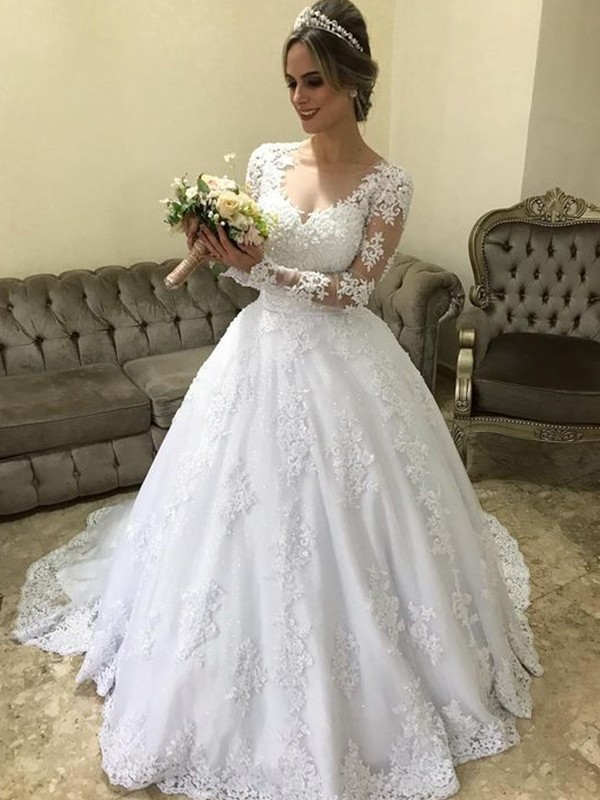 Ball Gown Brush Train Applique Satin Wedding Dresses