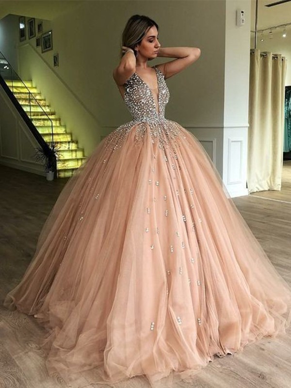 Ball Gown V-neck Sleeveless Floor-Length Tulle Prom Dresses
