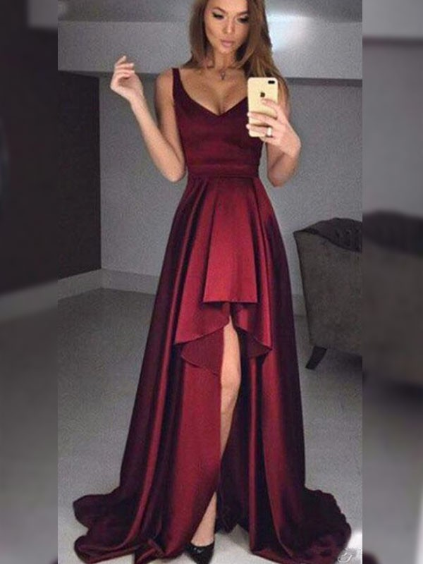 A-Line Straps Asymmetrical Ruffles Satin Burgundy Prom Dresses