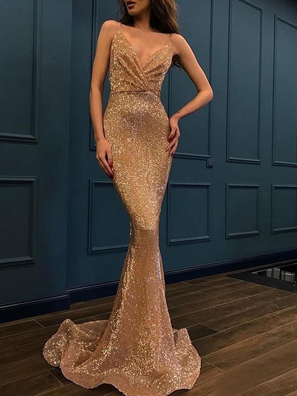 Mermaid Sleeveless Gold Spaghetti Straps Brush Train Sequins Evening Dresses
