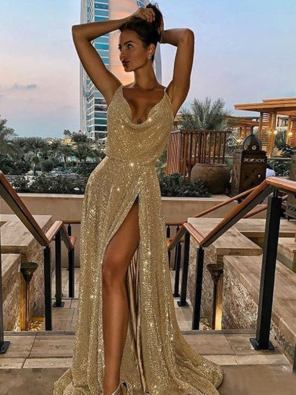 A-Line Sleeveless V-neck Brush Train Gold Ruffles Sequins Evening Dresses