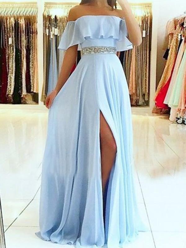 A-Line Light Sky Blue Off-the-Shoulder Beading Chiffon Evening Dresses