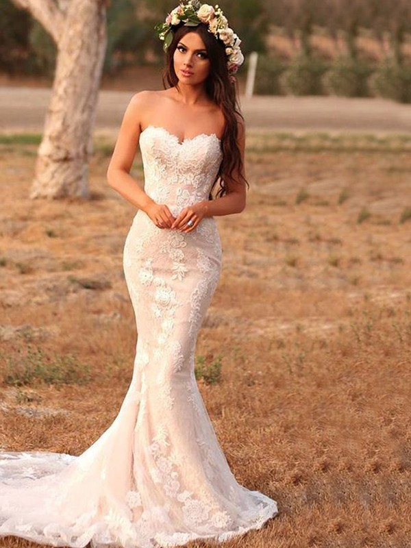 Mermaid Lace Applique Sweetheart Pink Sleeveless Brush Train Wedding Dresses