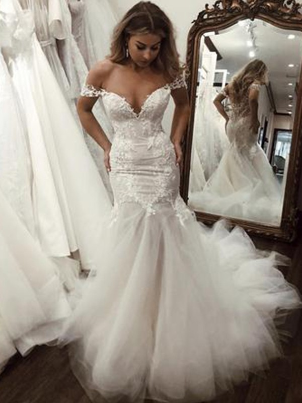 Mermaid Tulle Applique Off-the-Shoulder Brush Train Ivory Wedding Dresses