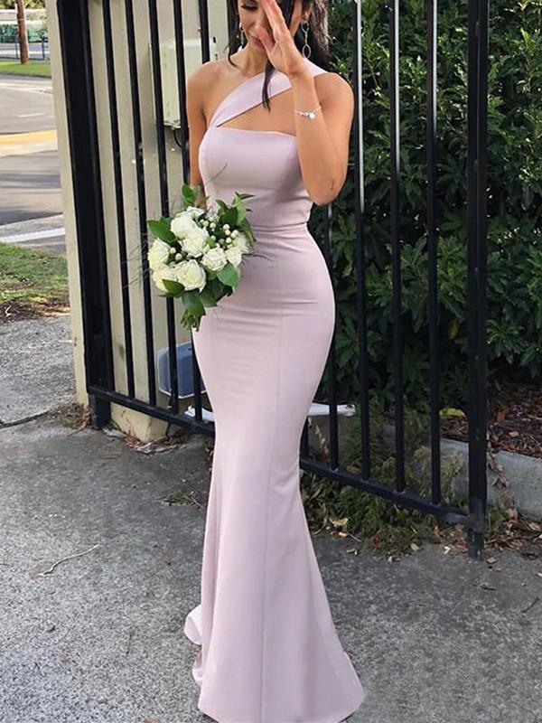Sheath Sleeveless Lilac One-Shoulder Floor-Length Stretch Crepe Bridesmaid Dresses