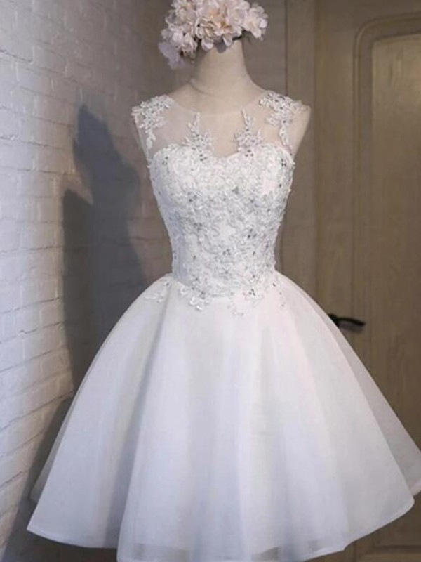 A-Line/Princess Tulle Applique Sheer Neck Sleeveless Short/Mini Dresses