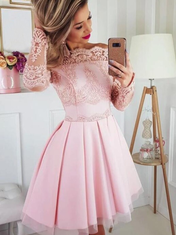 A-Line/Princess Satin Lace Off-the-Shoulder Long Sleeves Short/Mini Dresses