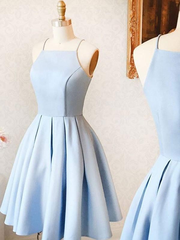A-Line/Princess Satin Ruffles Spaghetti Straps Sleeveless Short/Mini Dresses