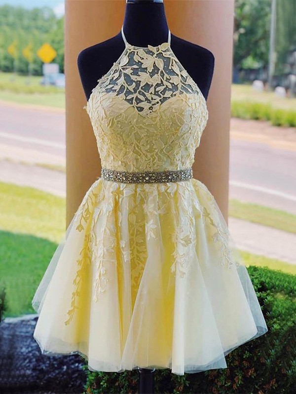 A-Line/Princess Tulle Halter Sleeveless Applique Short/Mini Dresses