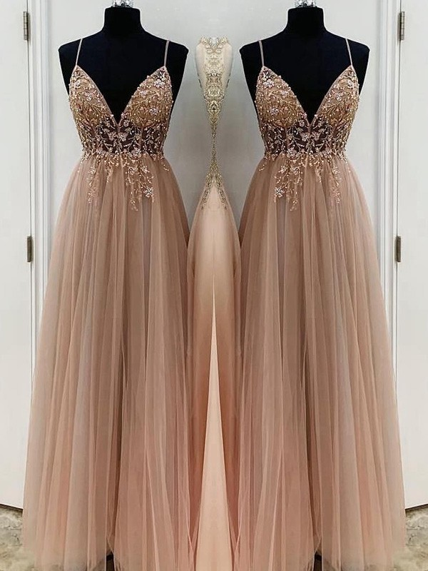 A-Line/Princess Beading Tulle Spaghetti Straps Sleeveless Floor-Length Dresses