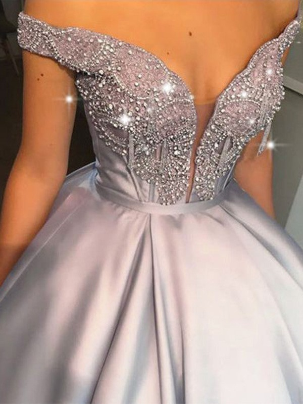Ball Gown Beading Satin Off-the-Shoulder Sleeveless Floor-Length Dresses