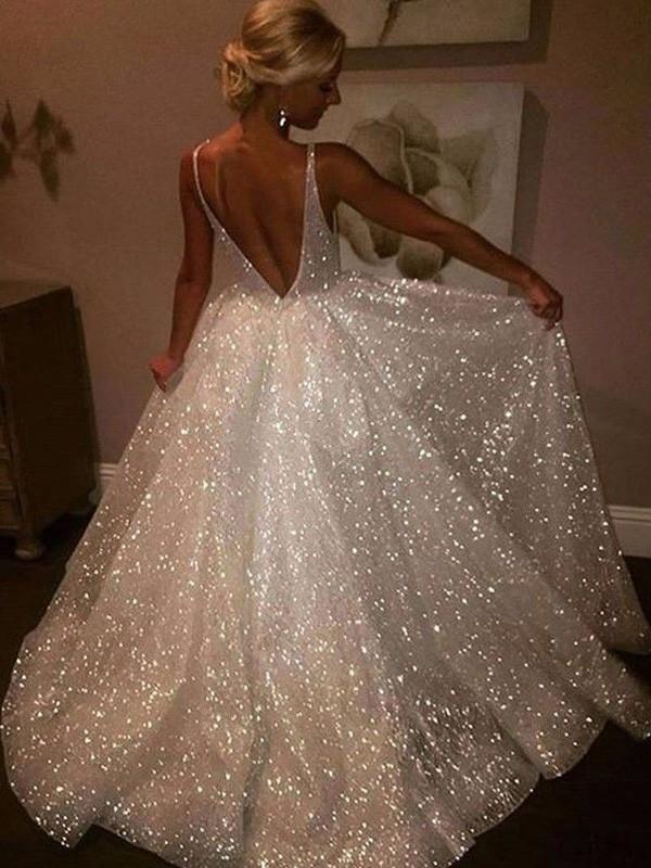 A-Line/Princess Tulle Sweep/Brush Train Sleeveless V-neck Sequin Dresses