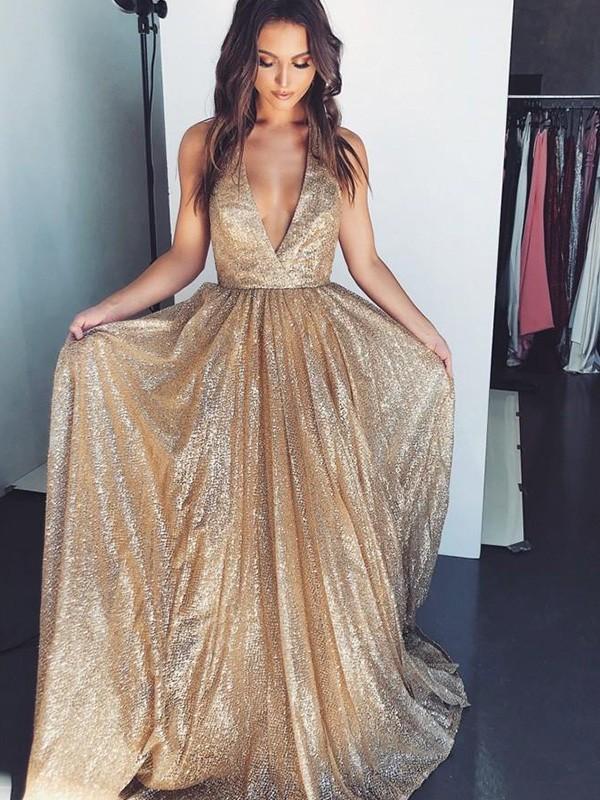 A-Line/Princess V-neck Sleeveless Ruffles Sweep/Brush Train Sequins Dresses
