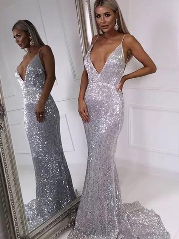 Trumpet/Mermaid Ruffles V-neck Sweep/Brush Train Sleeveless Sequins Dresses
