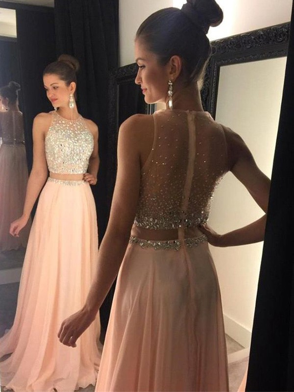 Chiffon A-Line Brush Train Scoop Pink Prom Dresses