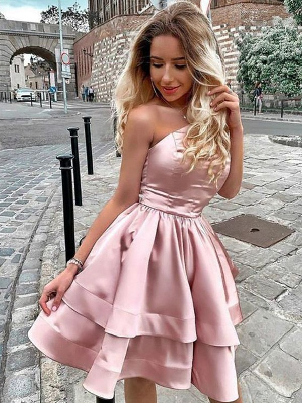 A-Line/Princess One-Shoulder Satin Ruffles Sleeveless Short/Mini Homecoming Dresses