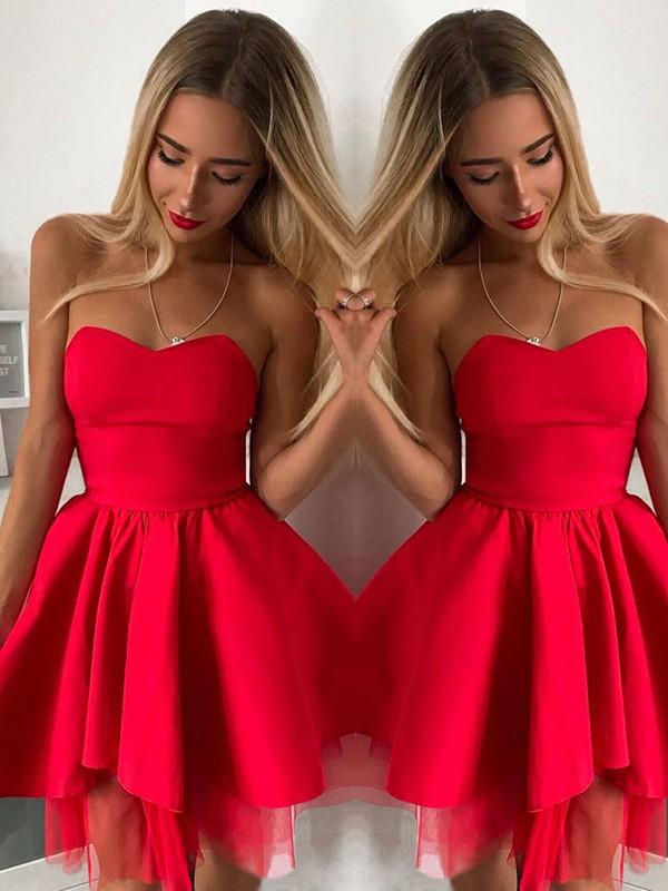 A-Line/Princess Satin Ruffles Sweetheart Sleeveless Short/Mini Homecoming Dresses