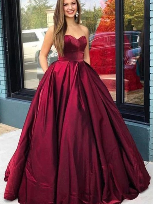 Ball Gown Sleeveless Satin Sweetheart Ruffles Floor-Length Dresses