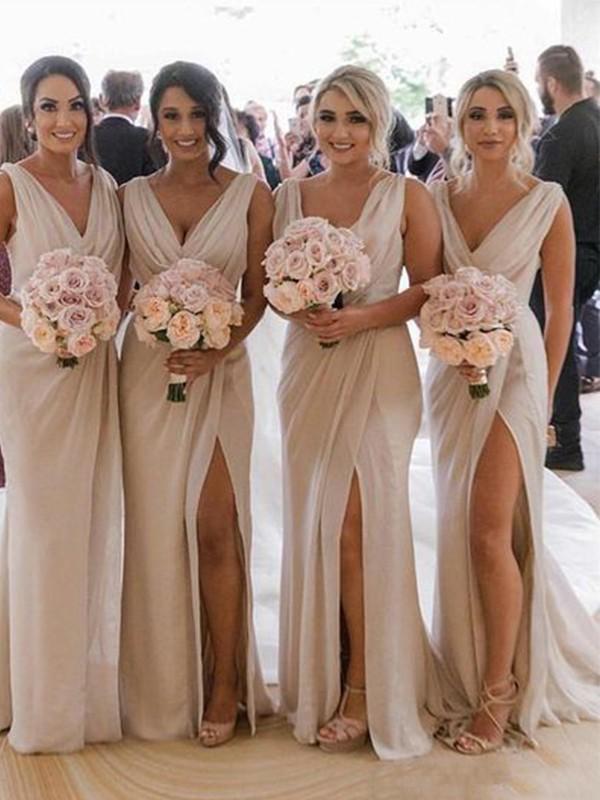 Sheath/Column Ruched Chiffon Sleeveless V-neck Sweep/Brush Train Bridesmaid Dresses