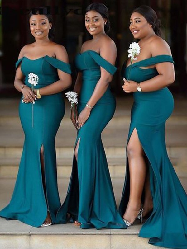 Sheath/Column Off-the-Shoulder Jersey Sleeveless Ruched Sweep/Brush Train Bridesmaid Dresses