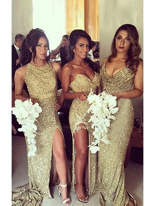 Sheath/Column Sequins Ruched Sweetheart Sleeveless Sweep/Brush Train Bridesmaid Dresses