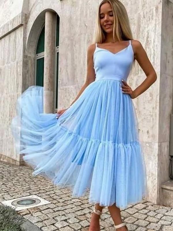 A-Line/Princess Tulle Ruffles V-neck Sleeveless Tea-Length Homecoming Dresses