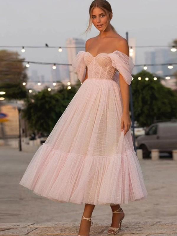 A-Line/Princess Tulle Ruffles Off-the-Shoulder Sleeveless Tea-Length Homecoming Dresses