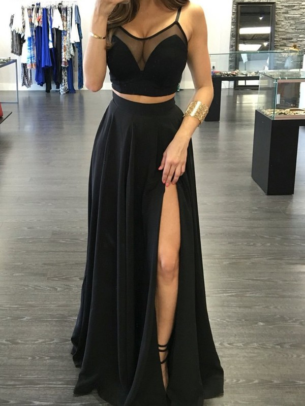 Chiffon A-Line Floor-Length Spaghetti Straps Black Prom Dresses