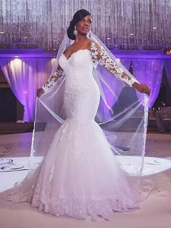Mermaid Sweetheart Brush Train Ivory Wedding Dresses with Applique