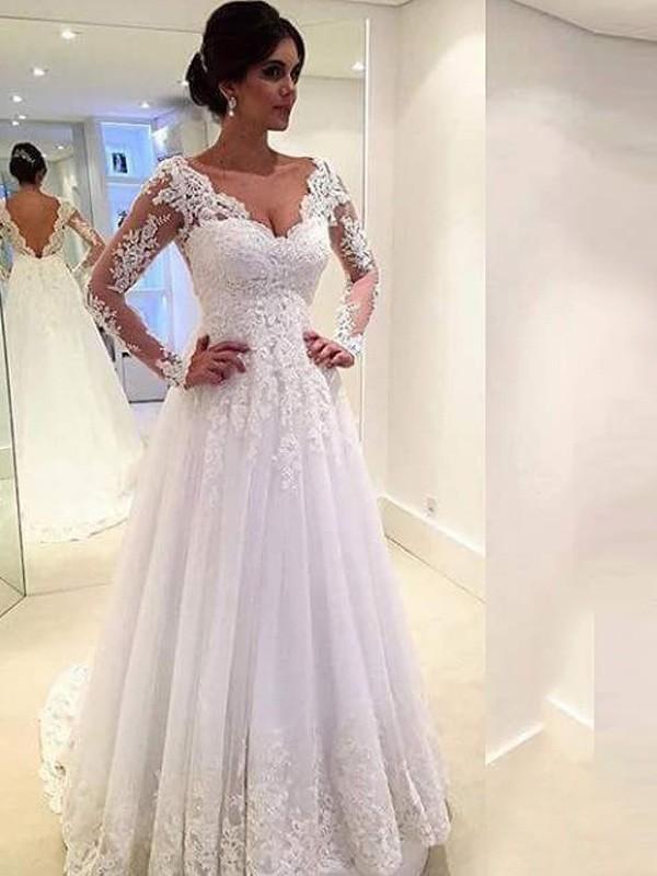 Ball Gown Tulle Long Sleeves V-neck Sweep/Brush Train Ivory Wedding Dresses