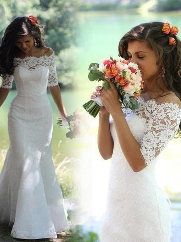 White Mermaid Off-the-Shoulder Brush Train Wedding Dresses with Lace