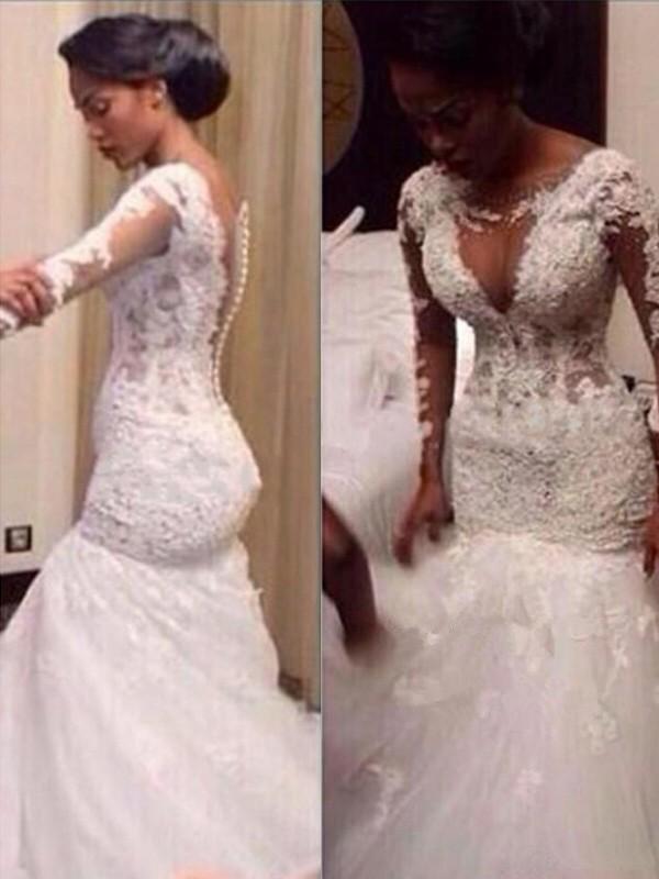 White V-neck Tulle Floor-Length Wedding Dresses