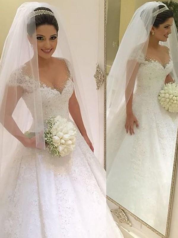 Ball Gown V-neck Floor-Length White Wedding Dresses with Beading