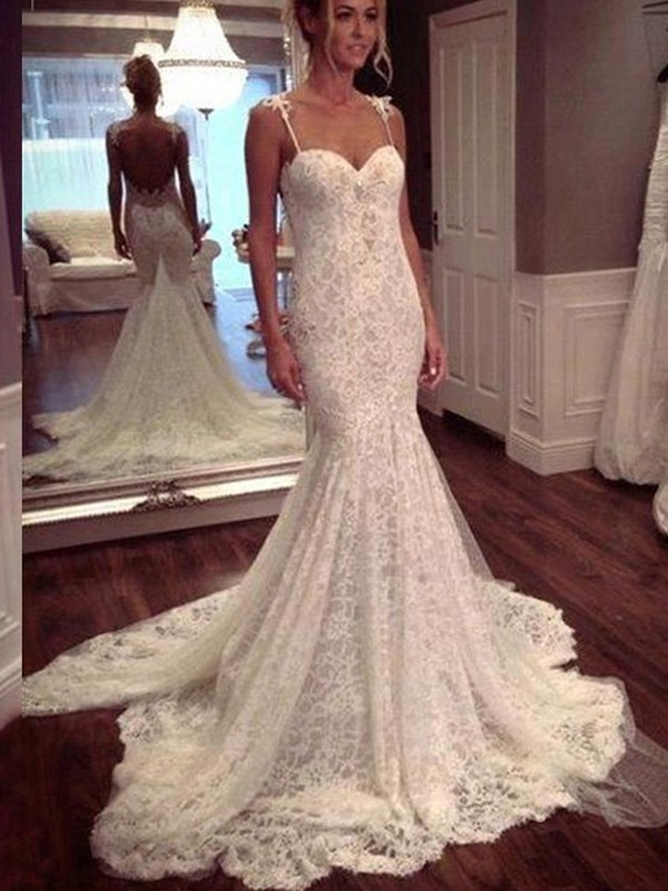 Court Train White Spaghetti Straps Wedding Dresses with Lace