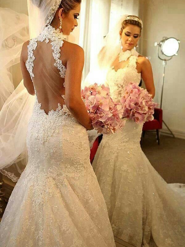 Mermaid High Neck Court Train White Wedding Dresses