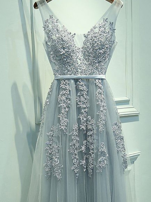 A-Line V-neck Floor-Length Light Sky Blue Prom Dresses