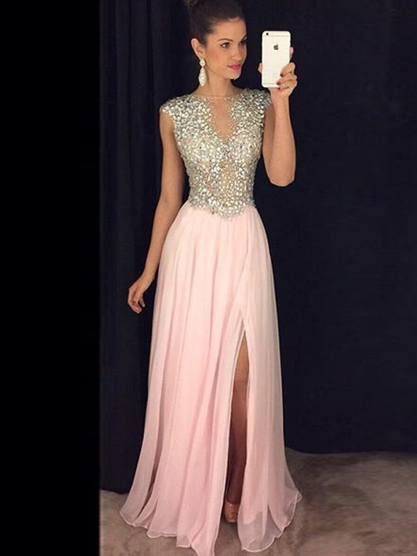 Floor-Length Pink Bateau Prom Dresses with Sequin