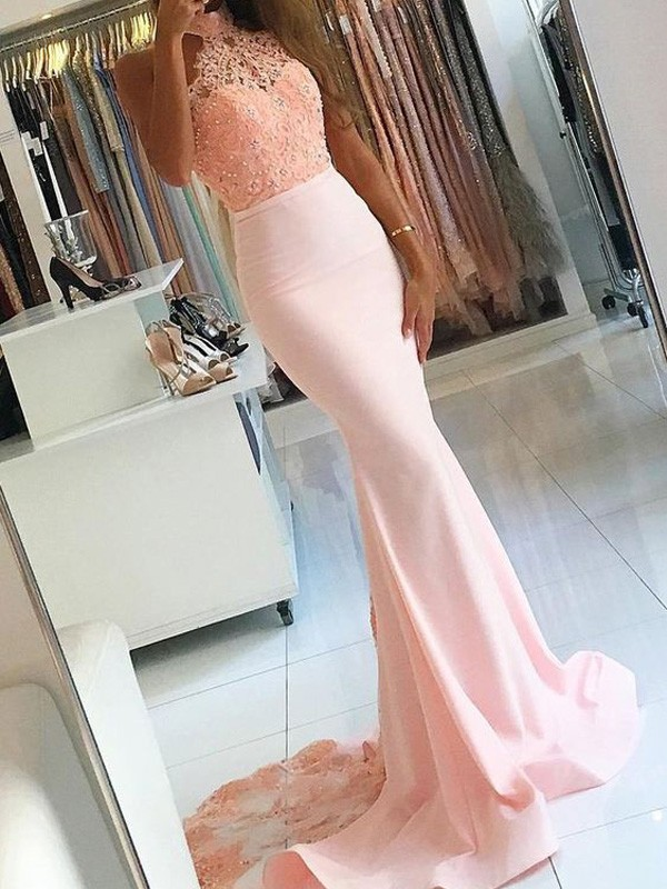 Pink Mermaid High Neck Brush Train Prom Dresses with Lace