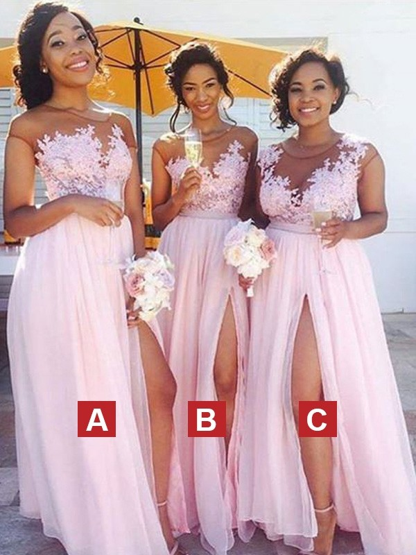 Floor-Length Pink Scoop Bridesmaid Dresses with Applique