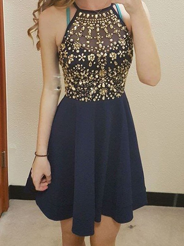 A-Line Scoop Short Dark Navy Homecoming Dresses with Beading